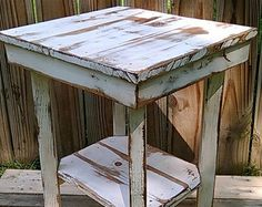 Reclaimed pallet wood end table nightstand by UpTheCreekRustic
