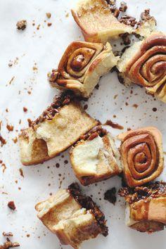 sticky molasses-pecan cinnamon rolls