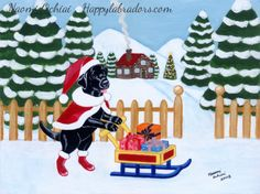 Cute Black Labrador Christmas Painting by Naomi Ochiai.  Black Labrador Christmas Cards and Gifts.  #BlackLabrador #Christmas #Labrador #LabradorRetriever