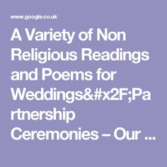 A Variety of Non Religious Readings and Poems for Weddings/Partnership Ceremonies – Our Blog