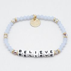 Choose from words like 'strength,' breathe,' believe,' and 'hope' to give you inspiration before passing it on to someone who needs it more. Diy Bracelets Letters, Kandi Bracelets, Diy Bracelets Easy, Beach Bracelets, Cute Bracelets, Handmade Bracelets, Friendship Bracelets, Luxury Jewelry, Boho Jewelry