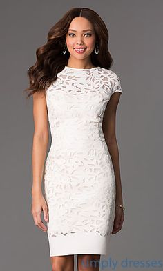 Knee Length Cap Sleeve Dress at SimplyDresses.com
