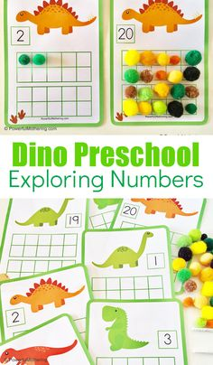 Dinosaur themed math activities for preschoolers. Help preschoolers with counting, comparing numbers, number sense and more with this engaging, hands on free printable activity. science for preschoolers preschool activities preschool crafts kindergarten Dinosaur Theme Preschool, Numbers Preschool, Free Preschool, Preschool Printables, Kindergarten Activities, Toddler Activities, Math Activities For Preschoolers, Dinosaur Dinosaur, Dinosaur Classroom
