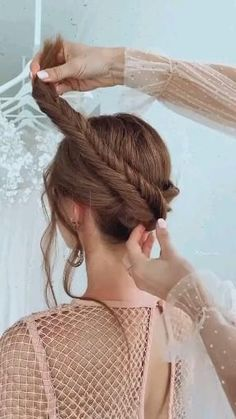 Prom Hair Medium, Medium Hair Styles, Long Hair Styles, Hairstyles With Curled Hair, Headband Hairstyles, Hair Style Vedio, Bridal Hair Tutorial, Blow Hair, Hair Upstyles