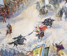 Duel between Guan Yu, Lu Bu and Zhang Fei at the Hulao Gate, War of the Three Kingdoms, China.