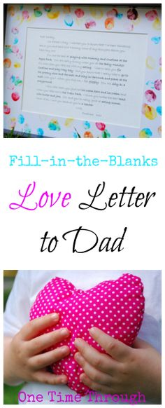 "Help your young child ""write"" a love letter to Dad for Father's Day or Valentines Day!  - One Time Through"