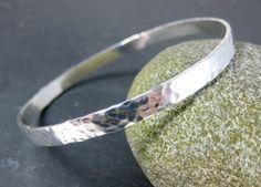 Flat Sterling Silver Bangle Bracelet, 5mm Wide Hammered Silver Bracelet, Simple Bracelet, Stacking Bracelet Minimalist Jewelry Boho Jewelry