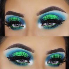 Stunning Christmas Green Eyeshadow Makeup Ideas You Must Know; Makeup Looks; Teal Makeup, Makeup Looks For Green Eyes, Colorful Eye Makeup, Eye Makeup Art, Makeup For Green Eyes, Green Eyeshadow Look, Neon Eyeshadow, Eyeshadow Looks, Eyeshadow Makeup