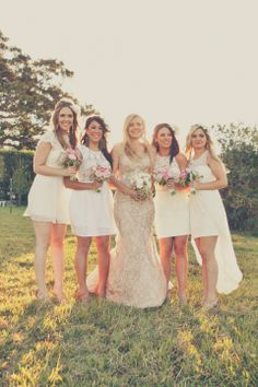 All White Bridesmaid Dresses / Raquel & Lachie's Boho Luxe Wedding