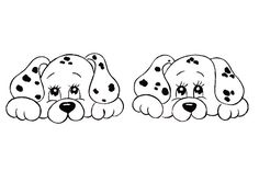 Cute little puppies. Baby Embroidery, Hand Embroidery Patterns, Embroidery Stitches, Embroidery Designs, Digi Stamps, Stuffed Animal Patterns, Colouring Pages, Fabric Painting, Easy Drawings