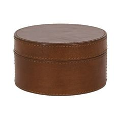 Leather Tobacco Round Decorative Box - Brown (£13) ❤ liked on Polyvore featuring home, home decor, small item storage, brown, brown basket, leather basket, colored boxes, brown home decor and round basket