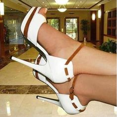 Elegant White Coppy Leather Ankle Strap Sandals