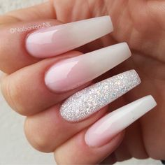 Beautiful long coffin-shaped nails with a natural shade of pink and one glitter accent finger by @nailsontop_nk Ugly Duckling Nails page is dedicated to promoting quality, inspirational nails created by International Nail Artists