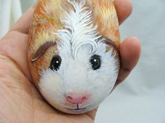 Painted rocks made custom of your furry friends. This guinea pig is an example of an order. - via Etsy  - I love guinea pigs!