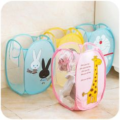 Kawaii Cartoon Folding Laundry Basket Nylon Iron Home Bathroom Large Laundry Basket