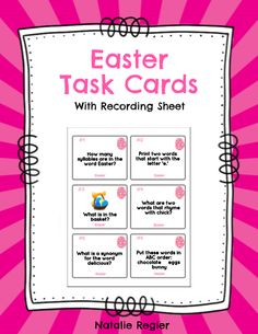 Easter Task Cards - The Easter Task Cards package contains 24 task cards and a recording sheet. Students look at each task and record their response on the recording sheet. Questions focus on a variety of skills including compound words, rhyming, ABC order, writing sentences, prefixes, plurals, etc. #teachersherpa