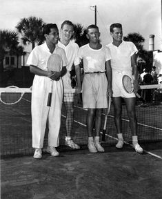 Francisco Segura, Jack Kramer, Billy Talbert, and Gardnar Mulloy on the tennis court - Daytona Beach, Florida