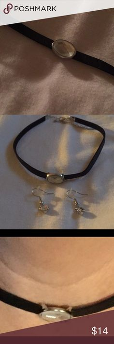 """Velvet choker with silver and CZ stones included Buy it """"meow"""" or never! Again, I've misplaced my measuring tape but it will fit a good sized Neck. I had it on the 3rd link and it was still loose. So don't worry about it not fitting. The earring are fish hook earrings so pierced ears only. Its a lovely chocker/'Earrings included. Please take a look at my other jewerly and items. $4.99 shipping on two items or More. Thanks for stopping by. Jewelry Earrings #fishinghooks"""