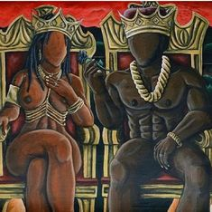 King Queen African American Artwork, African Art, My Black Is Beautiful, Black Love Art, Black Girl Art, Art Girl, Types Of Art, Urban Art, Black Art Pictures