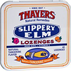 Thayers Slippery Elm Lozenges Tangerine - 42 Lozenges - Case of 10 - Thayers Slippery Elm Lozenges Tangerine Description:    New Size - Better Value!  Natural Remedies  Rose Hips + Vitamin C  Natures Tangerine Demulcent For temporary relief of minor discomfort and protection of irritated areas in sore mouth and sore throat. Free Of Animal testing. Disclaimer These statements have not been evaluated by the FDA. These products are not intended to diagnose treat cure or prevent any disease.