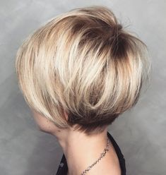 Rounded Pixie Bob with Blonde Balayage