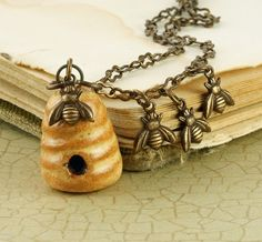 Beehive Necklace Bee Necklace Bee Hive by ForTheCrossJewelry, $34.00