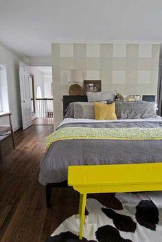 dormitorio cuarto habitacion pintado a cuadros grises