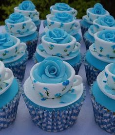 rose in a tea cup cupcakes. change the roses to yellow and we have cute cupcakes for a sorority event? Beautiful Cupcakes, Yummy Cupcakes, Cupcake Cookies, Party Cupcakes, Snowman Cupcakes, Sweet Cupcakes, Themed Cupcakes, Elegant Cupcakes, Frosted Cookies