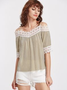Shop Champagne Contrast Lace Trim Pleated Cold Shoulder Top online. SheIn offers Champagne Contrast Lace Trim Pleated Cold Shoulder Top & more to fit your fashionable needs.