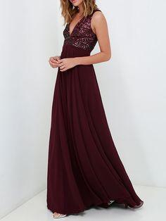 Burgundy Deep V Neck Sequined Maxi Dress 25.90