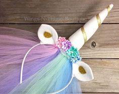 Corona de flor de unicornio, cuerno de unicornio Pony diadema con velo de tul, mlp carácter, color de rosa, cosplay, accesorio del pelo, niñas, niño, adulto, pony, c