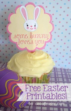 Free Easter Printable Bag Topper and Cupcake Topper