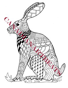 Jackrabbit Bunny Cute Rabbit Coloring Page Downloadable Printable Art by CanadianArtBeats on Etsy