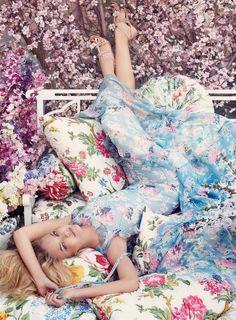 Fantasy Blooms: Caroline Trentini for Steven Meisel Vogue Australia 2008