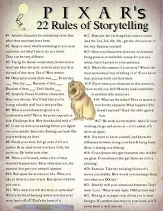 """illesigns:  Pixars 22 Rules of Story Telling  """