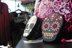 biker girls and skulls go hand in hand. these day of the dead inspired bags are a cute but badass accessory! Biker Fashion, Biker Style, Biker Girl, Day Of The Dead, Skulls, Badass, Inspired, Girls, Cute