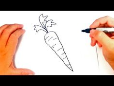 How to draw a Carrot Art Drawings For Kids, Doodle Drawings, Drawing For Kids, Cartoon Drawings, Easy Drawings, Carrot Drawing, Food Drawing, Pencil Sketch Drawing, Pencil Drawings
