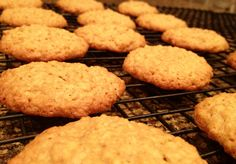 Oatmeal spice cookies - 3 cups oats, 1.5 cups flour, 1/2 tsp fresh nutmeg, 1 tsp vanilla extract, 2 eggs, 1/2 tsp. salt, 1/2 cap lemon juice, 2 sticks butter, 1.5 cups packed light brown sugar, 1/2 cup granulated sugar, 1/4 tsp. baking powder, 1 tbsp. marshmallow topping (smuckers is best).  Mix dry ingredients and set aside. Mix butter, sugar, and other wet ingredients together, then add dry slowly to the mix. Bake at 350 for 12-14 minutes depending on size of the cookies you drop.