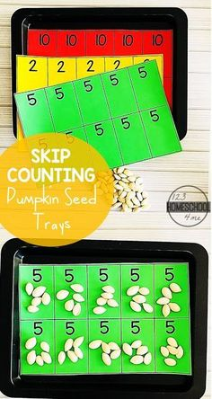 Pumpkin Seed Skip Counting - this fun, FREE printable skip counting activity is a fun way for kindergarten and first grade kids to practice counting by 2s, 5s, and 10s. Fall themed math center #mathcenter #skipcounting #countingby2s #countinbby5s #coundingby10s #kindergarten #math #firstgrade #pumpikinactivity