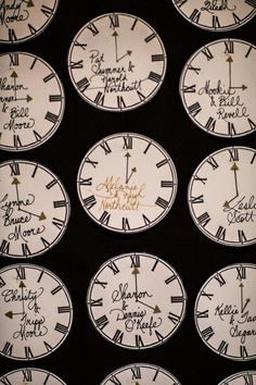 Classic clocks were an important part of decor for this New Year's Eve wedding - click to see all the pictures