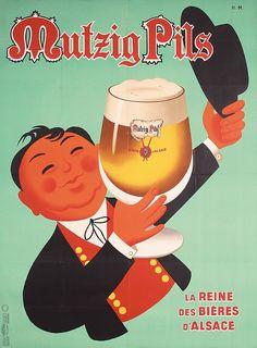 La reine des bières d'Alsace - Mutzig Pils - 1964 - (Hervé Morvan) -