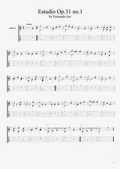 Estudio Op.31 no.1 - Fernando Sor tablature