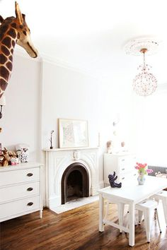 Love the wood floors. Such a peaceful playroom.sometimes kids' playroom design can be overwhelming and stifle the imagination rather than encourage it. From Kelly Stuart Girls Bedroom, Childs Bedroom, Kid Bedrooms, Home Interior, Interior Design, Deco Kids, Deco Design, Design Design, Nursery Inspiration