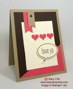 I Love Ya Word Bubbles Framelits Dies - http://stampinpretty.com/2015/05/i-love-ya-word-bubbles-framelits-dies.html Learn the art of simple & pretty hand stamped cards.  Stampin' Up! Word Bubbles Framelits Dies and Just Sayin' coordinating stamps make it a snap.  Mary Fish, Stampin' Pretty.  #stampinup