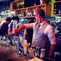 Our very own @robert_dixie is such an amazing mixologist he doesn't even have to look when he pours. 5pm #SakeCheers - @eatatunion- #webstagram