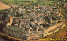 Cité, Carcassonne, Languedoc, France.... http://www.castlesandmanorhouses.com/photos.htm ... The largest surviving medieval walled city in Europe. Inside is the Château Comtal, the Castle of Raymond Roger Trencavel, Viscount of Carcassonne, Béziers, Albi and the Razès. He died in his own prison here in 1209, aged 24, after being taken prisoner while under a safe-conduct from the Cistercian Abbot Arnaud Amaury the papal legate and military leader of the Albigensian Crusade.