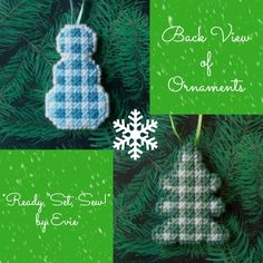 Plastic Canvas: Pretty in Plaid 2-Sided Ornaments (set of 2 -- snowman and Christmas tree), back view