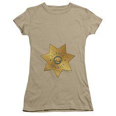 EUREKA BADGE Juniors Sheer Cap Sleeve T-Shirt
