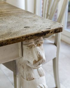 Lion carved table leg in an aged paint finish. Table Legs, Paint Finishes, Lion, Carving, Inspiration, Painting, Furniture, Home Decor, Leo