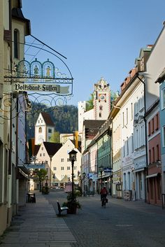 The small town of Fussen in Germany, early in the morning.